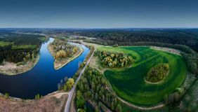 Scenic aerial river and fields landscape. High quality panorama image stock photo