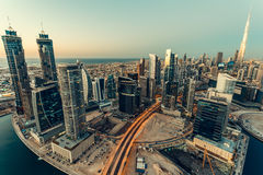 Scenic aerial skykline of Dubai`s business bay. Royalty Free Stock Photos