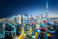 Scenic aerial skyline. Big modern city at night. Business bay, Dubai Royalty Free Stock Image