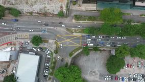 Scenic Aerial Time Lapse of Busy Roundabout Road in Kuala Lumpur, Malaysia. stock footage