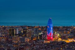 Scenic aerial view of Barcelona city skyscraper and skyline at n. Ight in Barcelona, Spain stock images