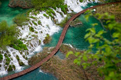 Scenic aerial view of cascades and pathway Stock Photos