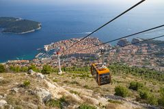 Scenic aerial view at famous Dubrovnik Riviera - Cableway view stock photography