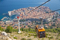 Scenic aerial view at famous Dubrovnik Riviera - Cableway view royalty free stock photo