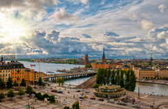 Scenic aerial view of Gamla Stan - Old Town - and Slussen in Stockholm at sunset Royalty Free Stock Photos