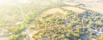 Scenic aerial view of green suburban area of Ozark, Arkansas, US. Panorama scenic aerial green suburban area of Ozark, Arkansas, USA. Overhead residential royalty free stock image