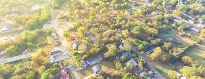 Scenic aerial view of green suburban area of Ozark, Arkansas, US. Panorama scenic aerial green suburban area of Ozark, Arkansas, USA. Overhead residential stock photo