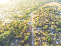Scenic aerial view of green suburban area of Ozark, Arkansas, US. Scenic aerial green suburban area of Ozark, Arkansas, USA. Top overhead residential Stock Photos