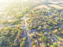 Scenic aerial view of green suburban area of Ozark, Arkansas, US. Scenic aerial green suburban area of Ozark, Arkansas, USA. Top overhead residential royalty free stock photography