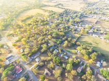 Scenic aerial view of green suburban area of Ozark, Arkansas, US. Scenic aerial green suburban area of Ozark, Arkansas, USA. Top overhead residential stock photo