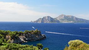 Scenic aerial view with the Island of Capri, Italy stock video footage