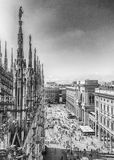 Aerial view from the roof of the Cathedral, Milan, Italy Stock Images
