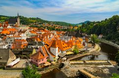 Scenic Aerial View Over The Old Town Of Cesky Krumlov, Czech Republic Stock Image