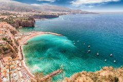 Scenic aerial view of Sorrento, Italy, during summertime. Scenic aerial view of Sorrento, Neapolitan Riviera, Italy, during summertime Royalty Free Stock Photo