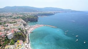 Scenic aerial view of Sorrento, Italy, during summertime stock footage