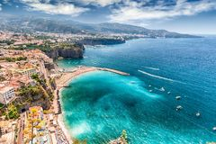 Scenic aerial view of Sorrento, Italy, during summertime. Scenic aerial view of Sorrento, Neapolitan Riviera, Italy, during summertime Stock Images
