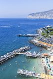 Scenic view of Sorrento, Neapolitan Riviera, Vesuvius volcan. Scenic aerial view of Sorrento, Neapolitan Riviera, Italy, during summertime stock photography