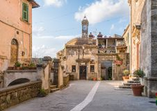 Scenic afternoon sight in Sorano, in the Province of Grosseto, Tuscany Toscana, Italy. Sorano is a town and comune in the province of Grosseto, southern Tuscany Royalty Free Stock Photos