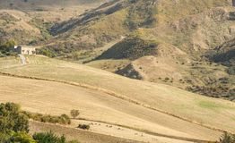 Scenic agricultural landscape of Sicily island Royalty Free Stock Photos