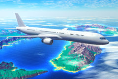 Scenic airliner flight over the ocean Stock Photos