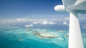Scenic airview dream beaches, bahamas stock photography