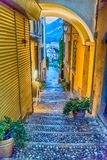 Scenic alley in Varenna town, Lake Como, Italy Stock Photo