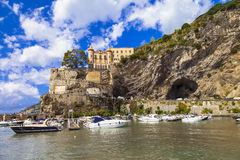 Scenic Amalfi coast - Maiori, view with castle. Italy. Beautiful Amalfi coast, Maiori . italy Royalty Free Stock Images