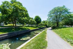 Scenic Area in Carrol Creek Promenade in Frederick, Maryland Royalty Free Stock Photography