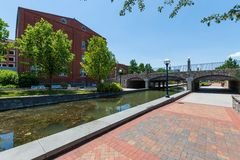 Scenic Area in Carrol Creek Promenade in Frederick, Maryland Royalty Free Stock Photos