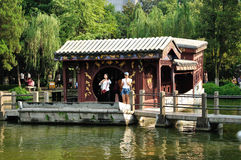 The scenic area of the ship. In Chinese Nanjing humanities attractions at the presidential palace, West Garden, a ship, not the ship mooring lines, it has been Royalty Free Stock Images