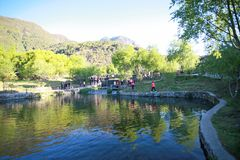Yunnan jade water village. The scenic area of Yu Shui Zhai is located in the northern part of Baisha Town, Lijiang, Yunnan, and consists of a series of scenic royalty free stock photography