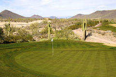 Scenic Arizona Golf Hole. A scenic view of a golf hole in the arizona desert Royalty Free Stock Photo