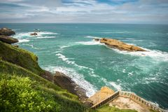 Scenic atlantic coastline in colorful amazing seascape, Biarritz, Basque Country, Royalty Free Stock Image