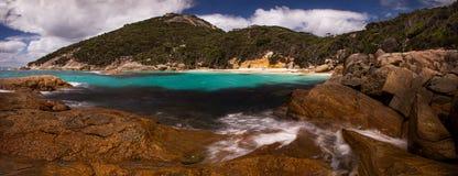 Scenic Australian seacoast. Panoramic, rocky seacoast near Albany, Western Australia stock images