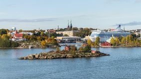 Scenic autumn aerial panorama of the Old Town architecture in Helsinki, Finland royalty free stock photos