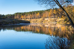 Scenic autumn colored river in country Royalty Free Stock Photos
