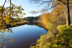 Scenic autumn colored river in country Stock Photography