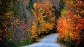 Scenic autumn drive in rural Quebec stock images