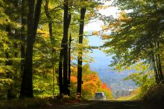 Scenic autumn drive in Vermont Royalty Free Stock Photography