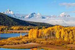 Scenic Autumn Landscape in the Tetons. A scenic landscape in the Tetons in autumn Royalty Free Stock Photo