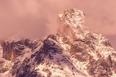 Scenic Autumn Landscape in the Tetons at Sunrise. A beautiful autumn landscape in the snow covered Tetons at sunrise Royalty Free Stock Photography
