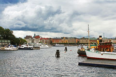 Scenic autumn panorama of the Old Town in Stockholm stock image