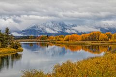 Scenic Autumn Reflection at Oxbow Bend Stock Images