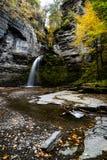 Eagle Cliff Falls - Havana Glen - Autumn Waterfall - New York. A scenic, autumn view of Eagle Cliff Falls within the Havana Glen near Montour Falls, New York Royalty Free Stock Photography