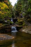 Buttermilk Falls State Park - Autumn Waterfall - Ithaca, New York royalty free stock images