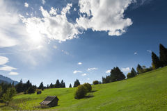 Scenic background of a beautiful green alpine past Stock Photo