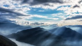 Scenic background of mountain ranges in Taiwan royalty free stock photos