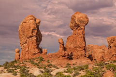 Scenic Balanced Rock Arches National Park Stock Photo