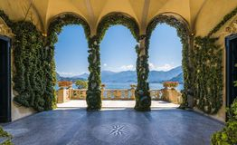 Scenic balcony overlooking Lake Como in the famous Villa del Balbianello, in the comune of Lenno. Lombardy, Italy. The Villa del Balbianello is a villa in the royalty free stock photography