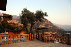 Scenic balcony and terrace overlooking coast and mountains in Kabak, Turkey. Royalty Free Stock Photography